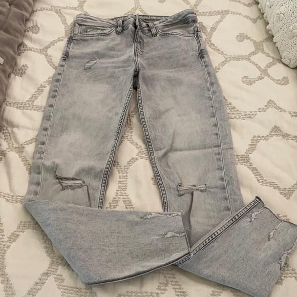 Brand new Zara distressed jeans grey wash